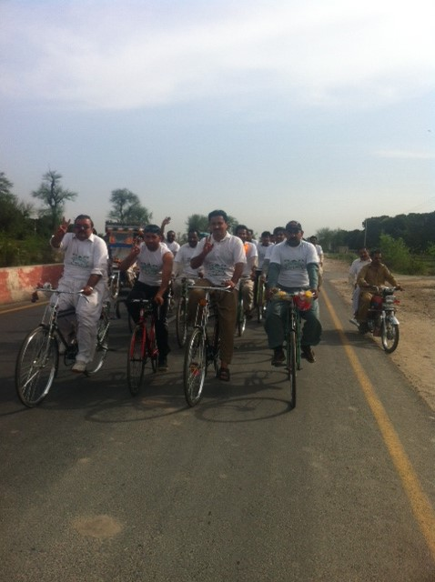 Jamshed Dasti at the start of the cycle march