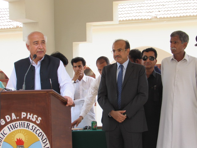 CM Balochistan, Dr. Malik,  speaking at GDA Public Higher Secondary School