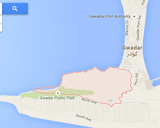 The location of Bateel Hill in Gwadar