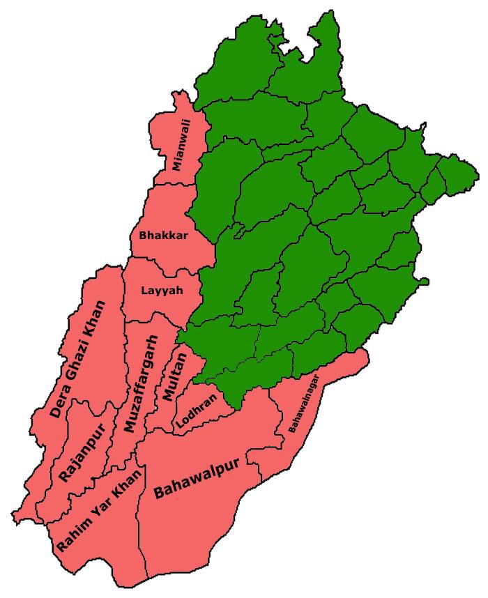 پنجاب کے وہ اضلاع جہاں سرائیکی بولنے والوں کی اکثریت ہے