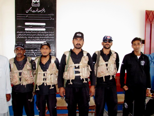 The police team involved in the raid